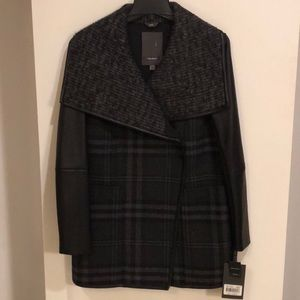 Vera Wang Wool and Leather Coat